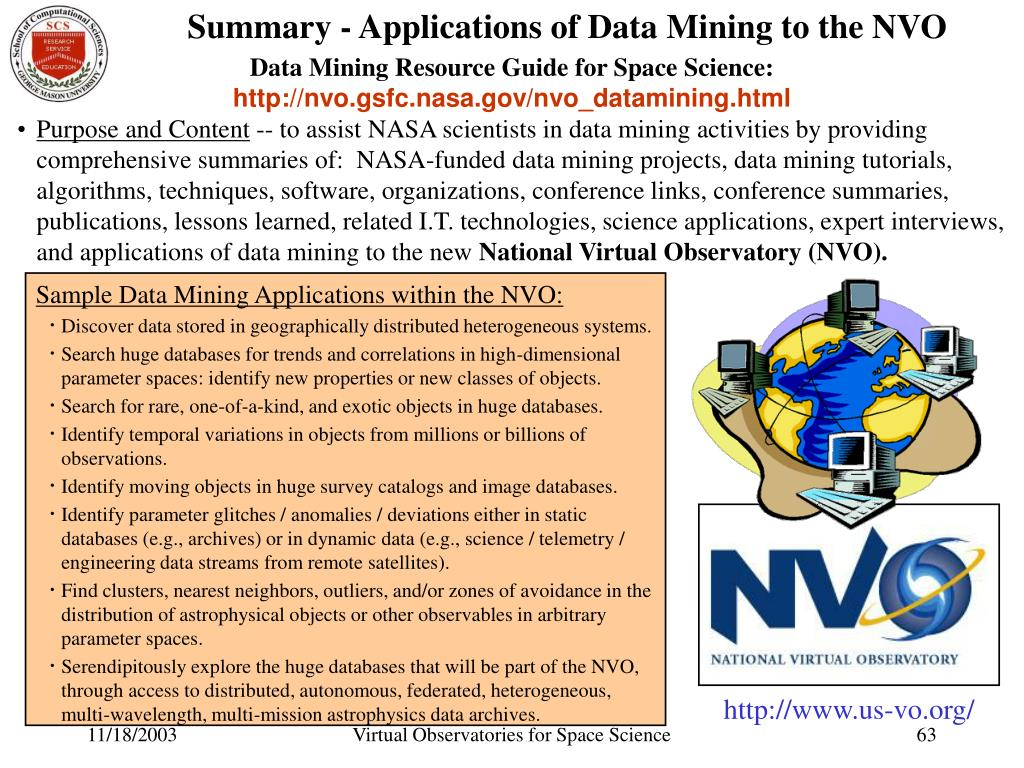 Summary - Applications of Data Mining to the NVO