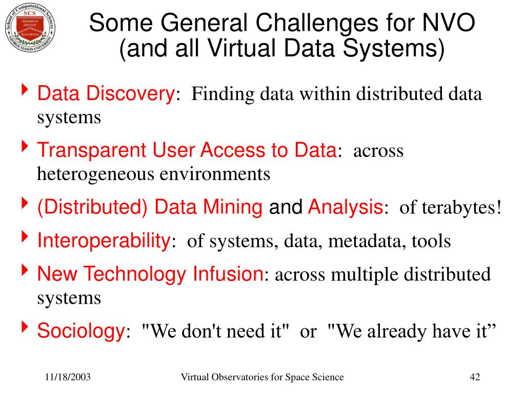 Some General Challenges for NVO (and all Virtual Data Systems)
