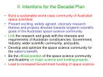 ii intentions for the decadal plan