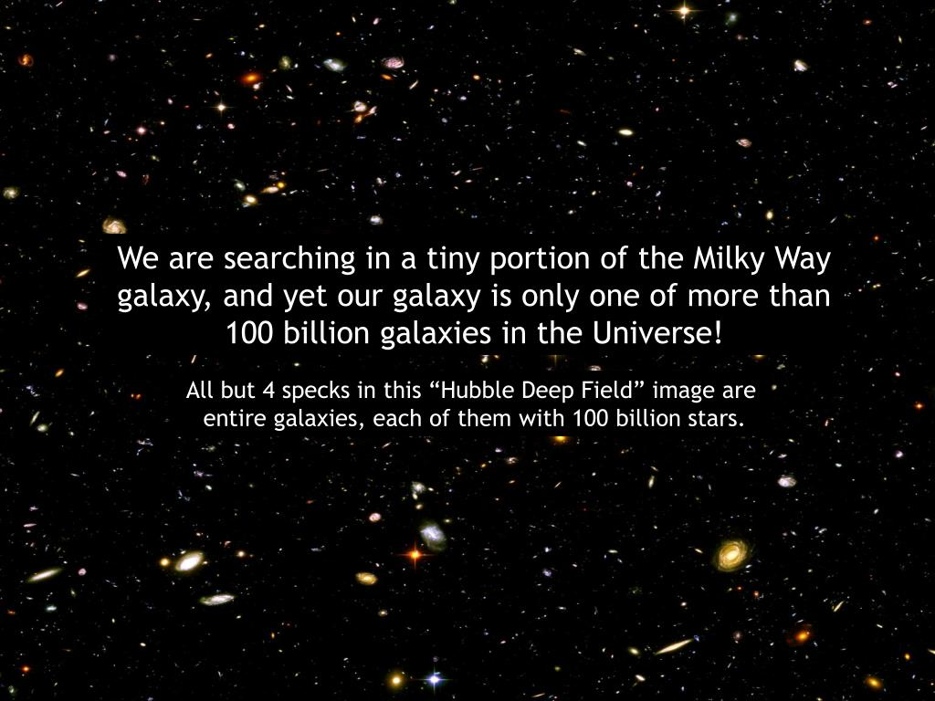 We are searching in a tiny portion of the Milky Way galaxy, and yet our galaxy is only one of more than 100 billion galaxies in the Universe!