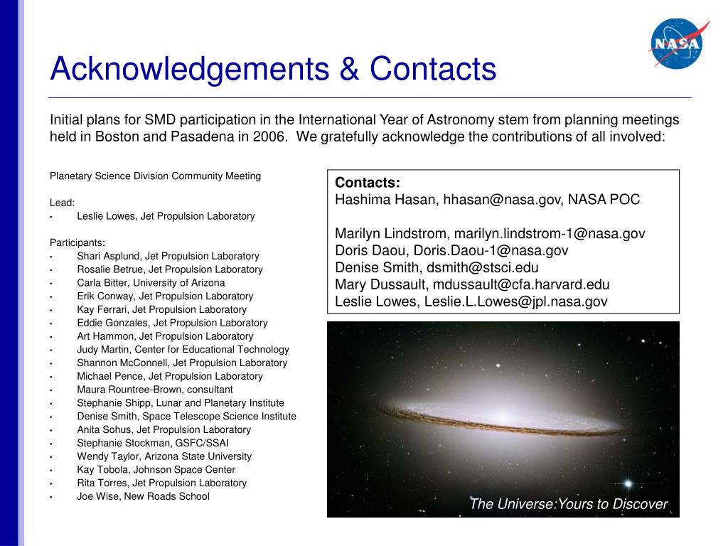 Acknowledgements & Contacts
