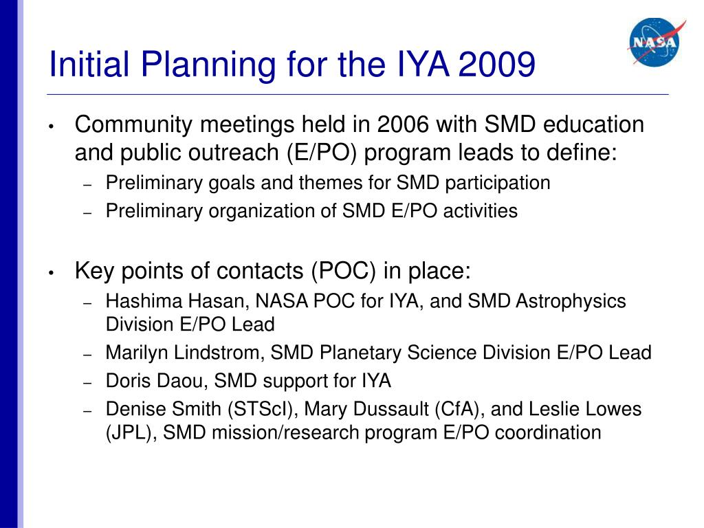 Initial Planning for the IYA 2009