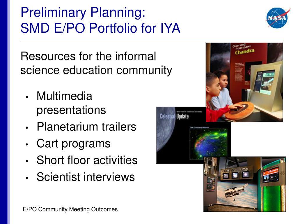 Preliminary Planning: