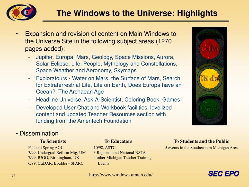 The Windows to the Universe: Highlights