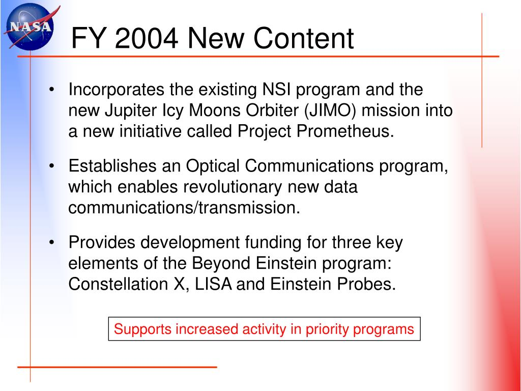 FY 2004 New Content