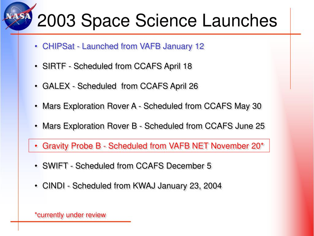 2003 Space Science Launches