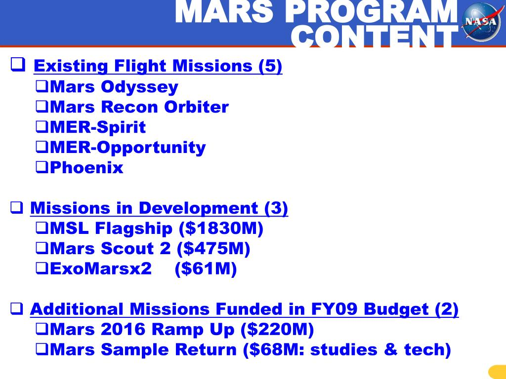 MARS PROGRAM CONTENT