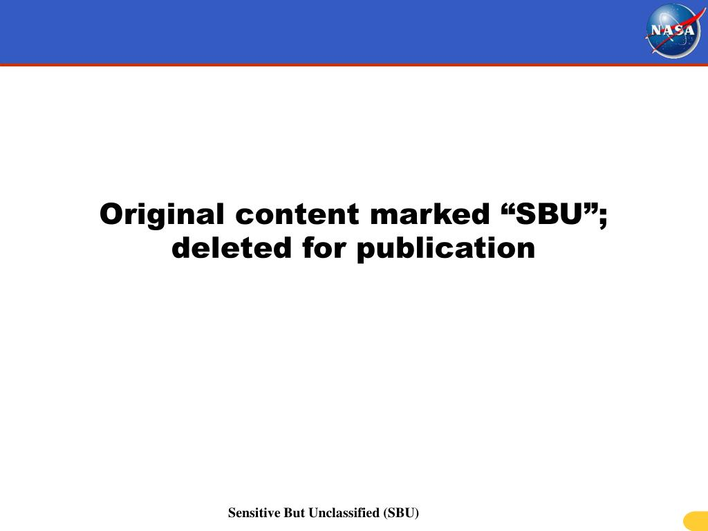 "Original content marked ""SBU""; deleted for publication"
