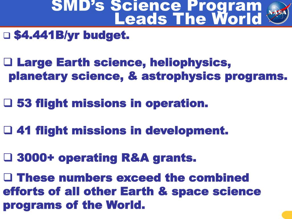 SMD's Science Program Leads The World
