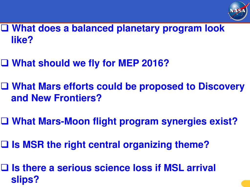 What does a balanced planetary program look