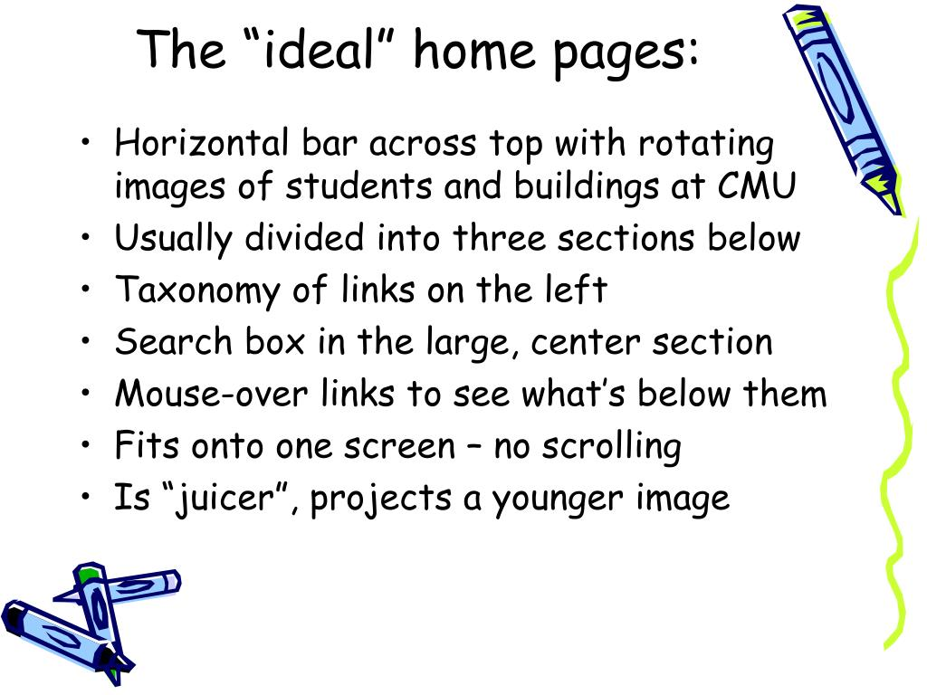 "The ""ideal"" home pages:"