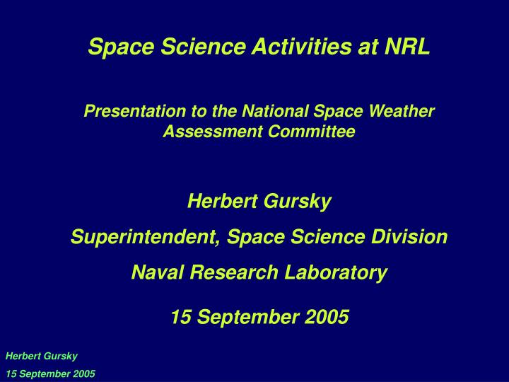 Space Science Activities at NRL