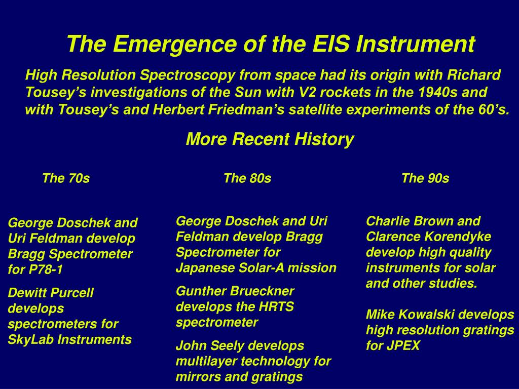 The Emergence of the EIS Instrument