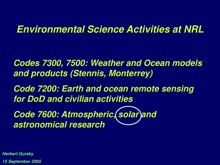 Environmental Science Activities at NRL