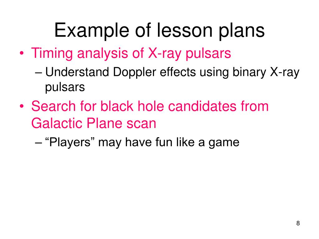 Example of lesson plans