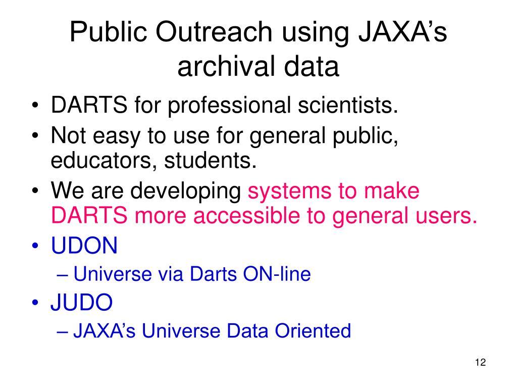 Public Outreach using JAXA's archival data