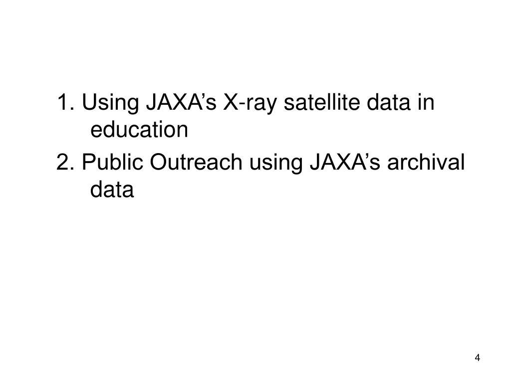 1. Using JAXA's X-ray satellite data in education