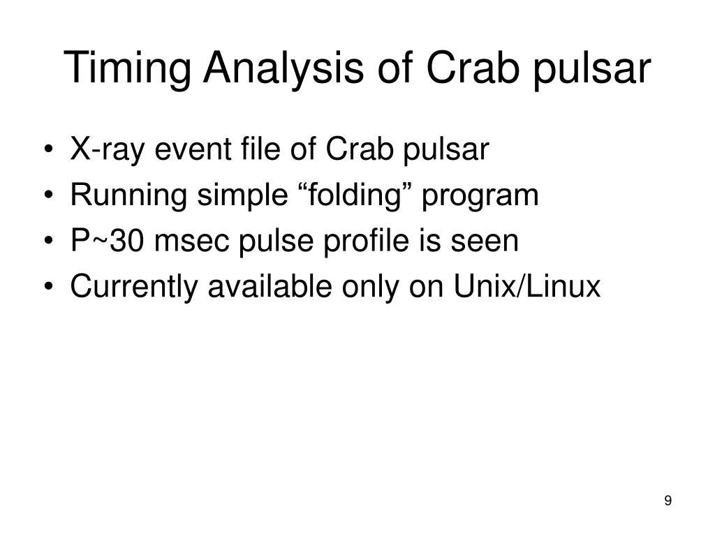 Timing Analysis of Crab pulsar