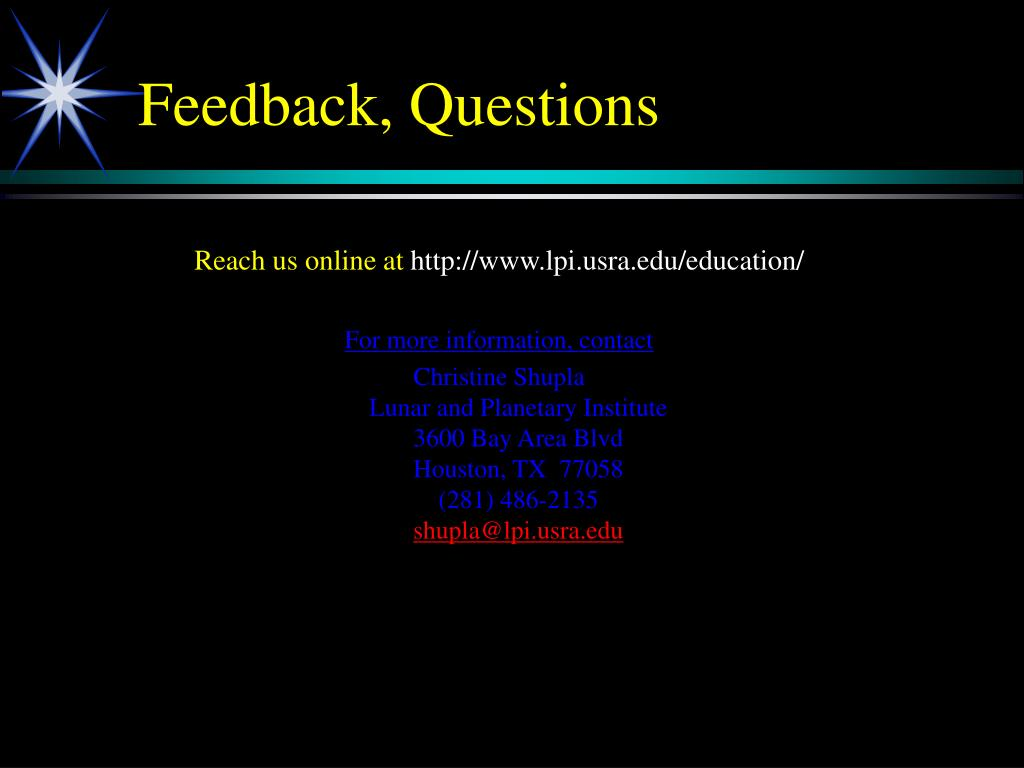 Feedback, Questions