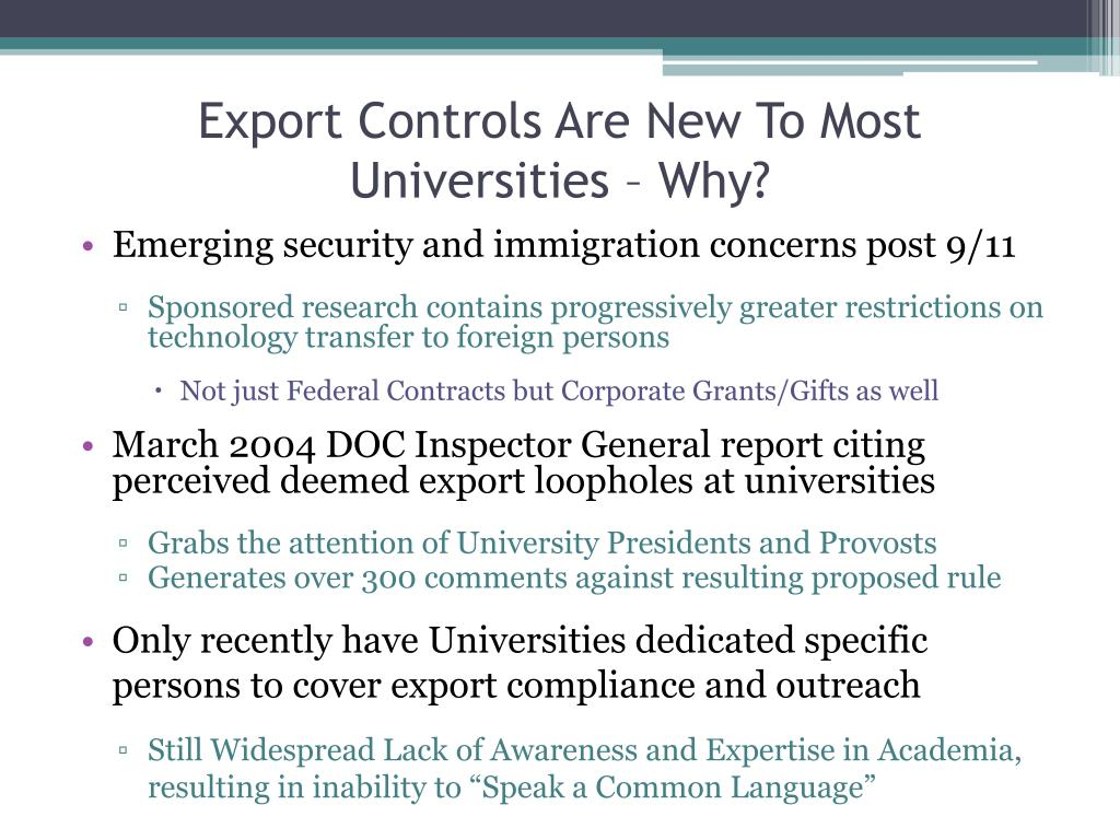 Export Controls Are New To Most Universities – Why?