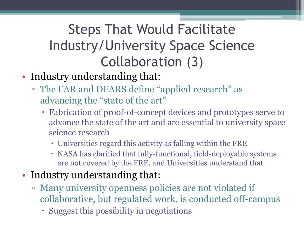 Steps That Would Facilitate Industry/University Space Science Collaboration (3)