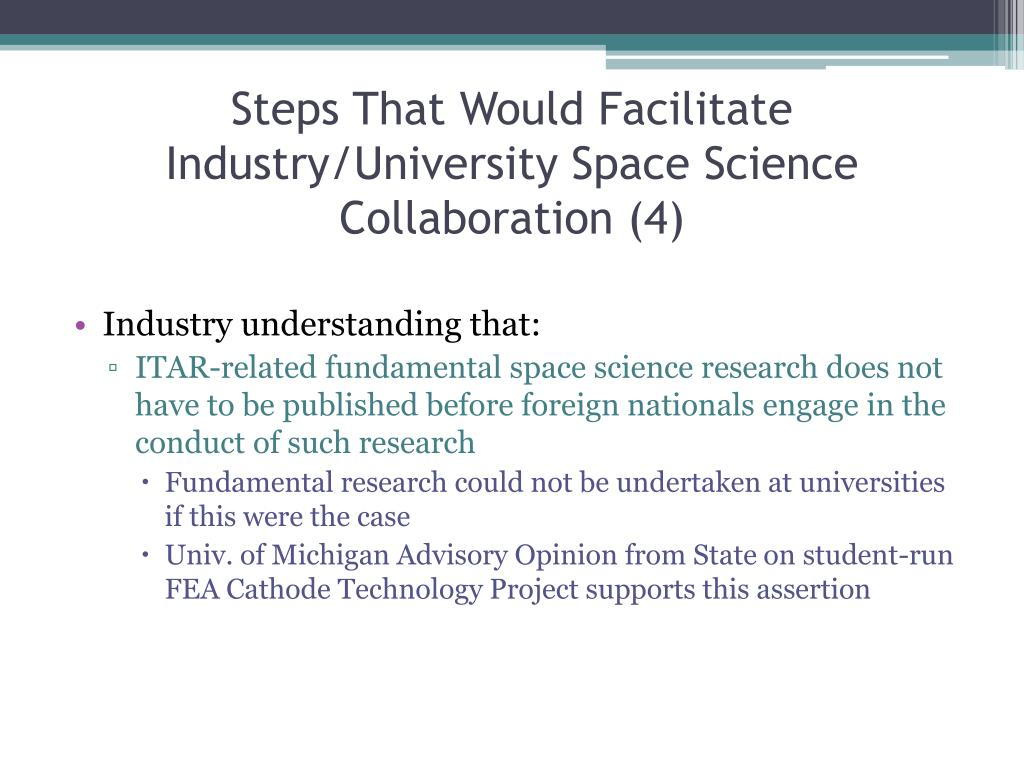 Steps That Would Facilitate Industry/University Space Science Collaboration (4)