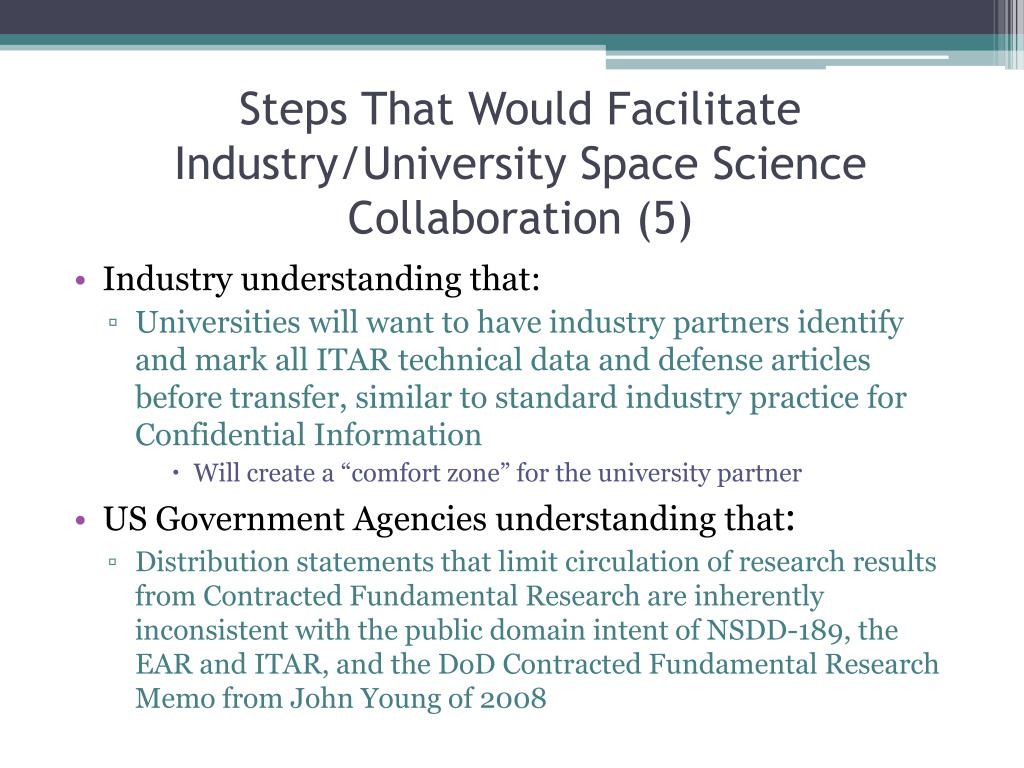 Steps That Would Facilitate Industry/University Space Science Collaboration (5)
