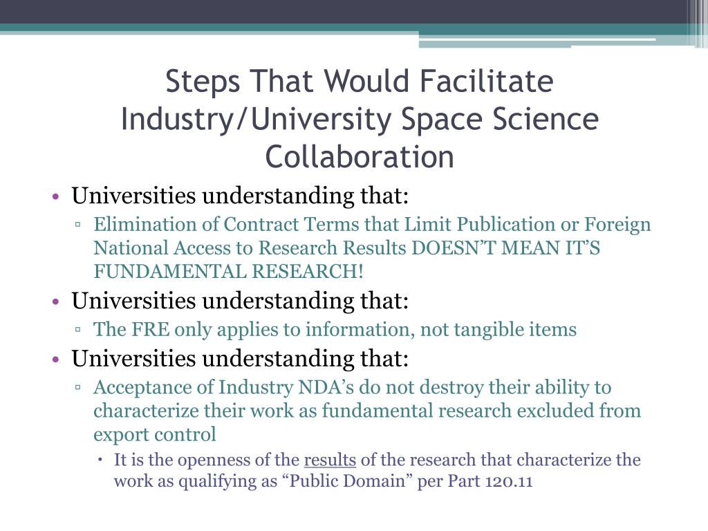Steps That Would Facilitate Industry/University Space Science Collaboration