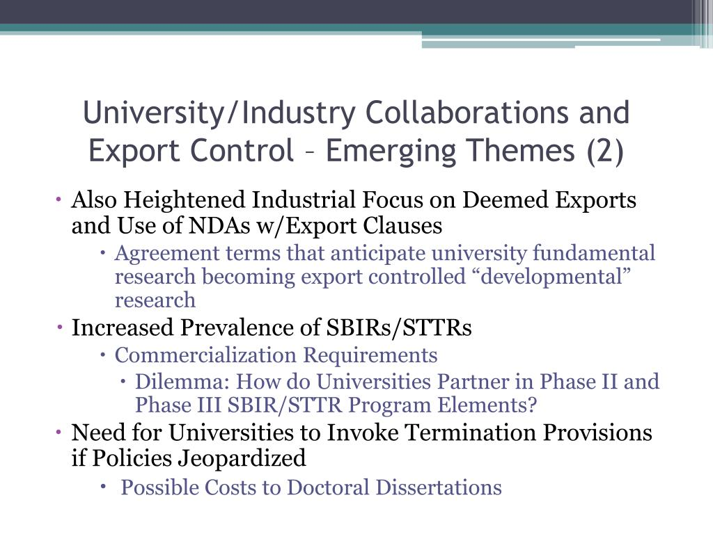 University/Industry Collaborations and Export Control – Emerging Themes (2)