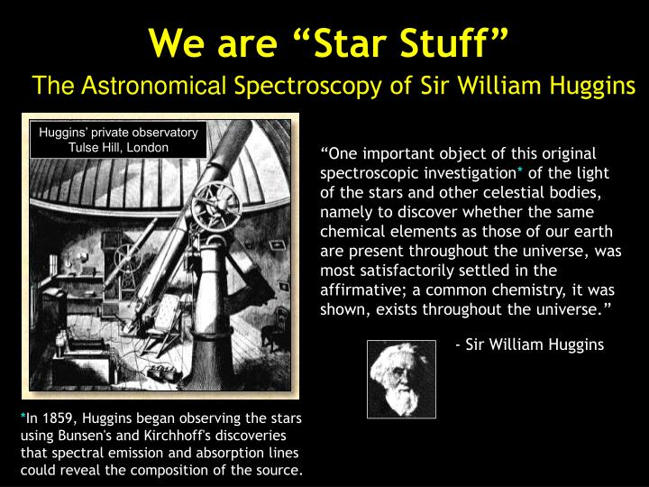 We are star stuff the astronomical spectroscopy of sir william huggins