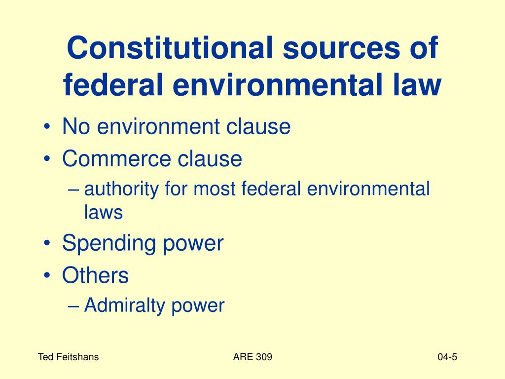 Constitutional sources of federal environmental law