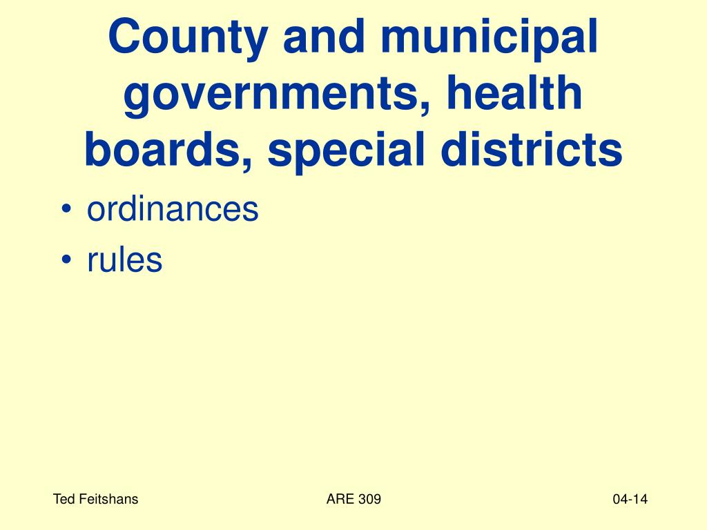 County and municipal governments, health boards, special districts