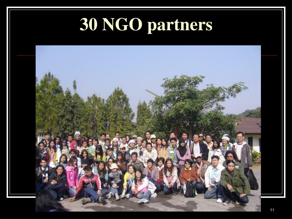30 NGO partners