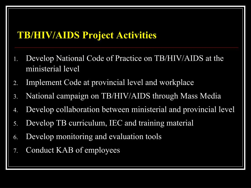 TB/HIV/AIDS Project Activities