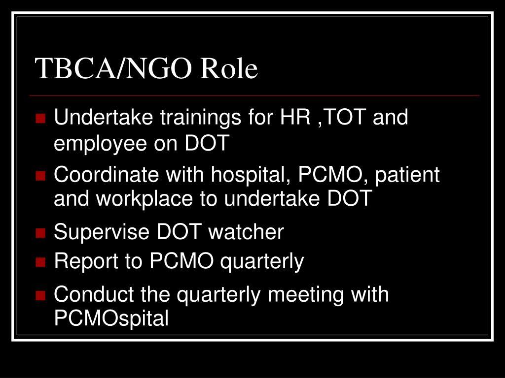 TBCA/NGO Role
