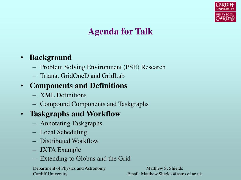 Agenda for Talk