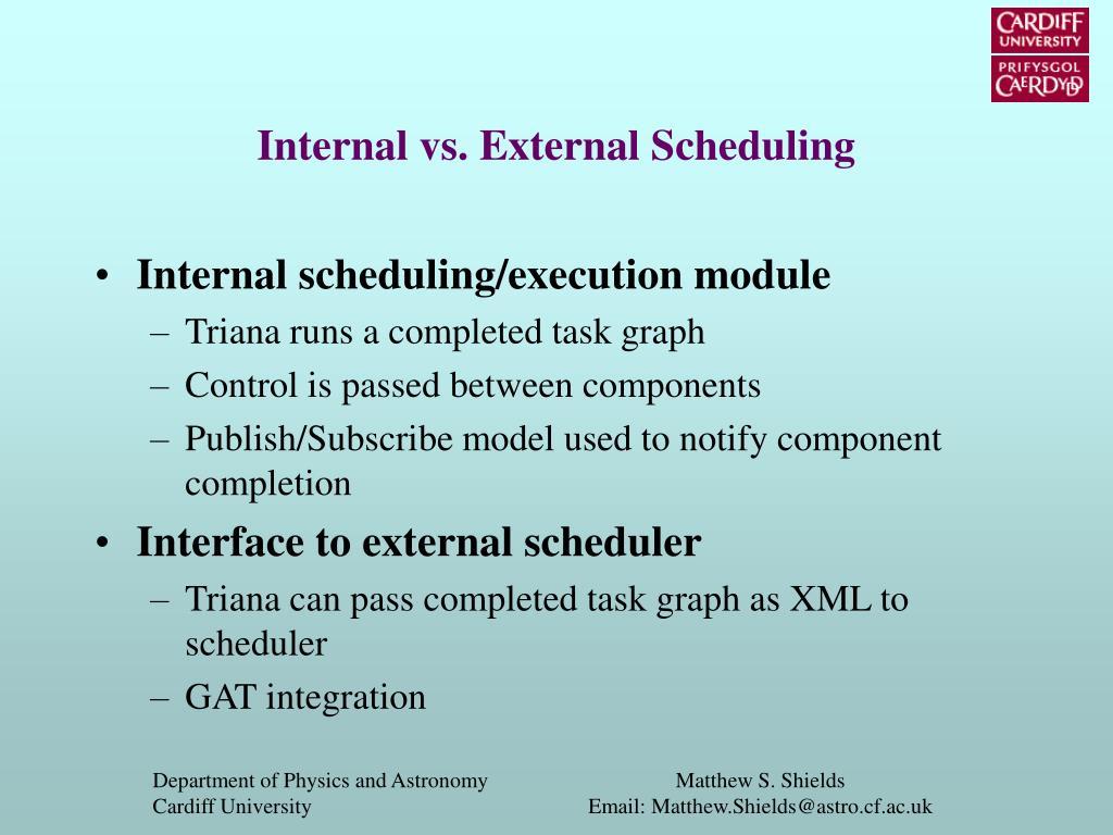 Internal vs. External Scheduling