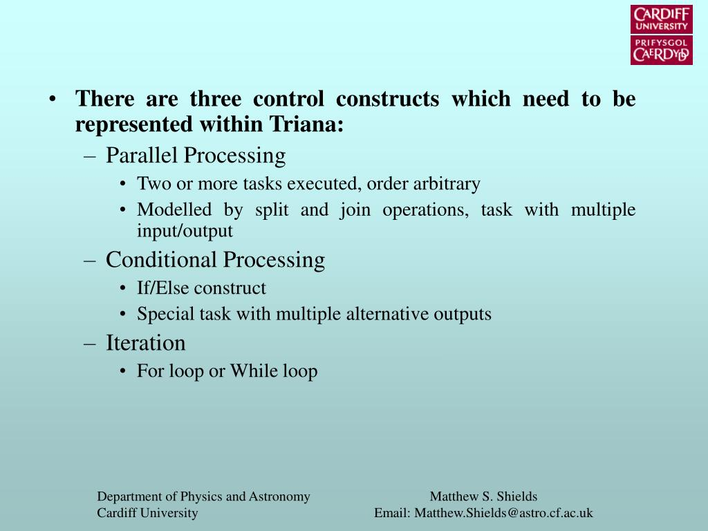 There are three control constructs which need to be represented within Triana: