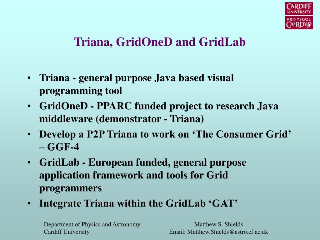 Triana, GridOneD and GridLab