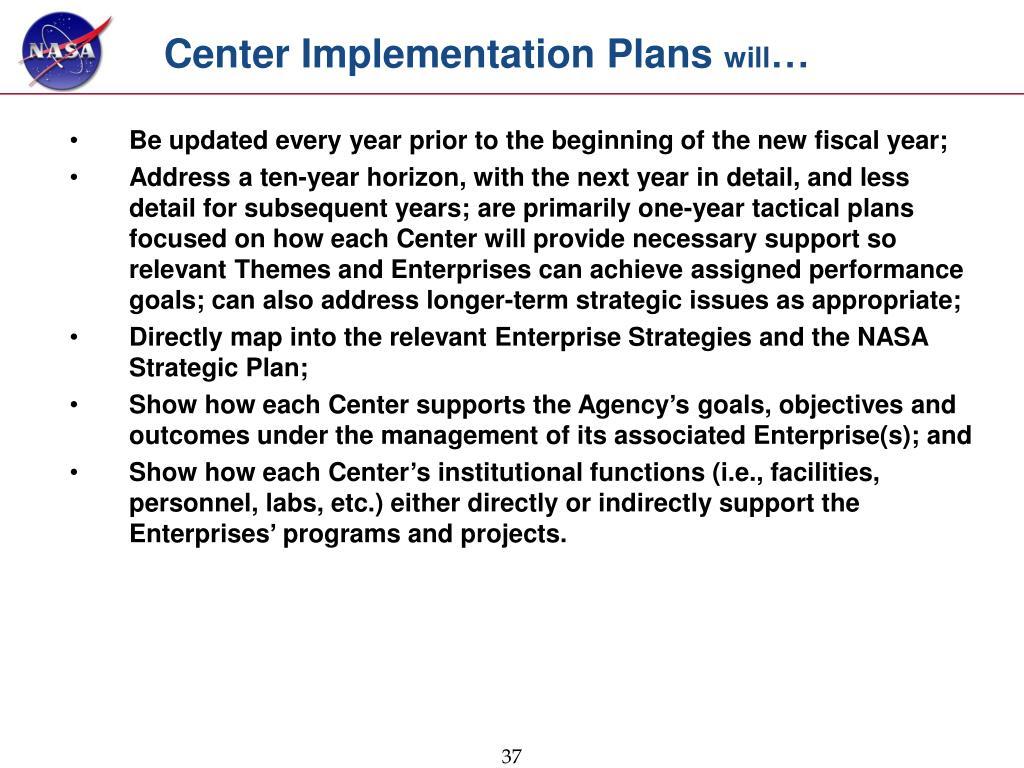 Center Implementation Plans