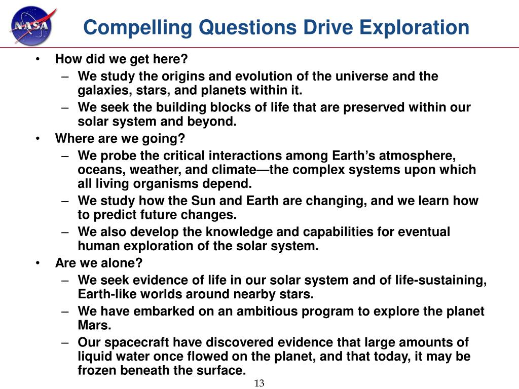 Compelling Questions Drive Exploration
