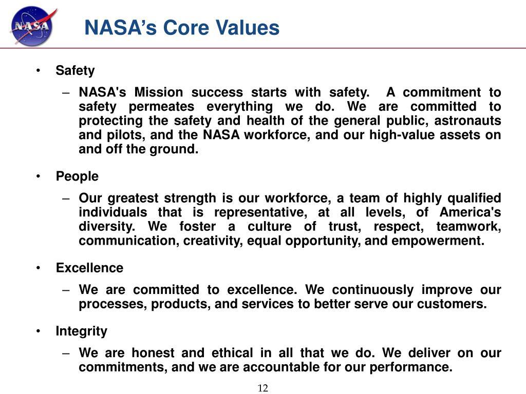 NASA's Core Values