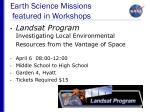 earth science missions featured in workshops28