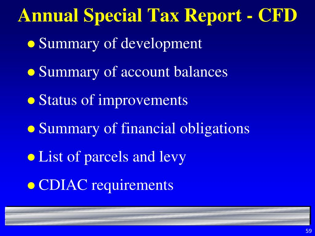 Annual Special Tax Report - CFD