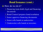 bond issuance cont