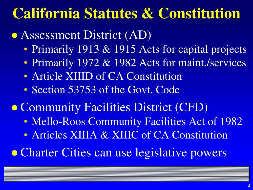 California Statutes & Constitution