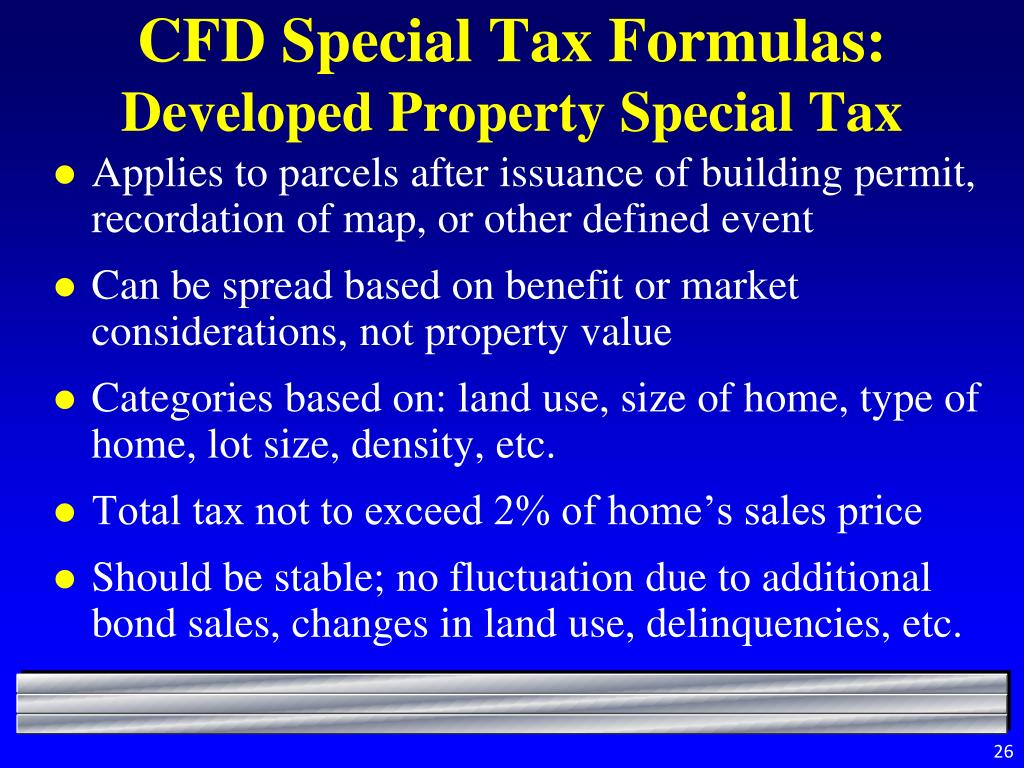 CFD Special Tax Formulas: