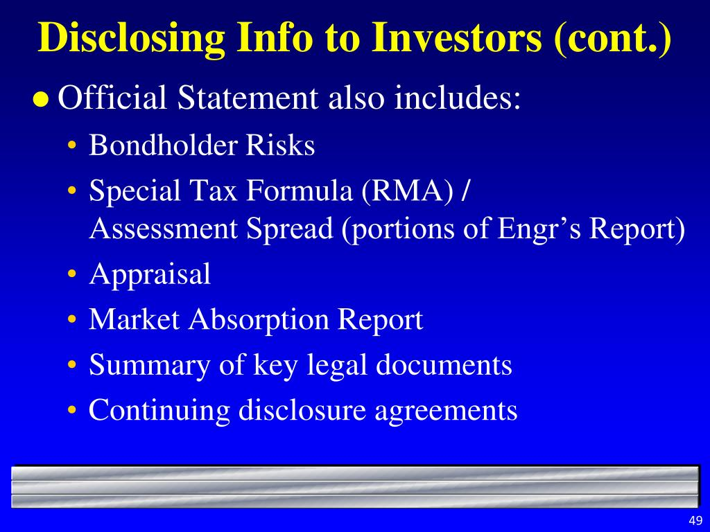 Disclosing Info to Investors (cont.)