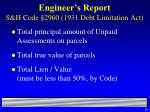 engineer s report s h code 2960 1931 debt limitation act