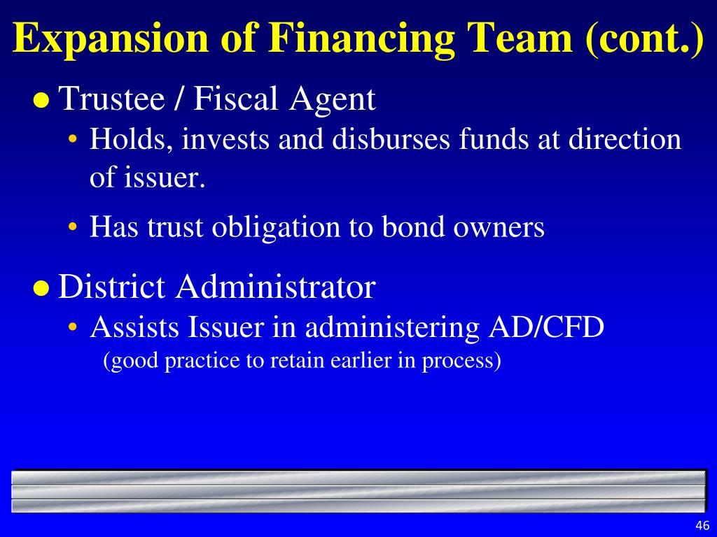Expansion of Financing Team (cont.)